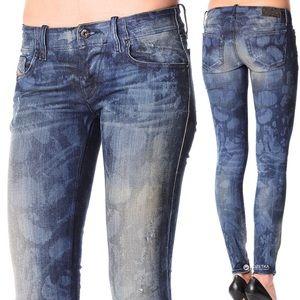 Diesel Jeans Grupee Zip Skinny Low Rise Distressed